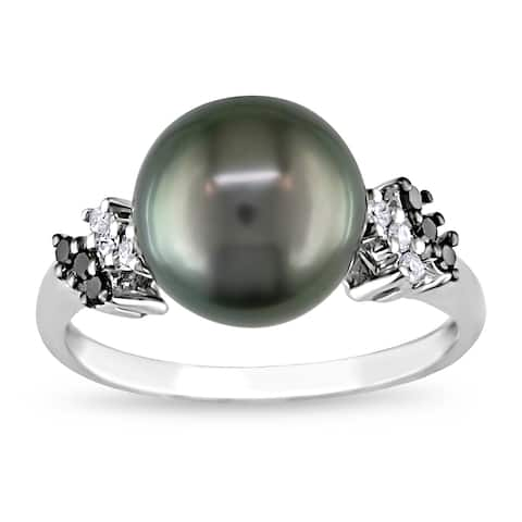 Exclusive - 9-10 MM Tahitian Cultured Pearl 1/8ct TDW Black and White Diamond Ring in 10k White Gold by Miadora