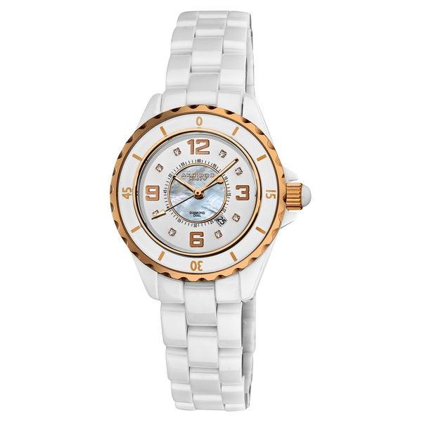 Akribos XXIV Women's Ceramic Quartz Date Diamond Fashion Watch