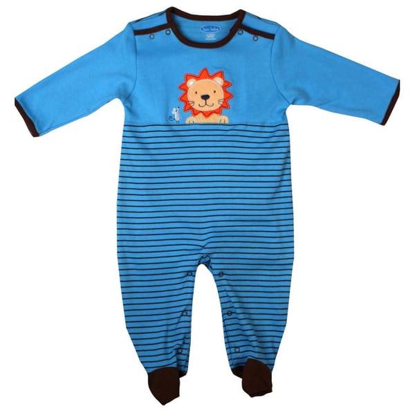 Bon Bebe Newborn Boy's Light Blue Lion Coverall