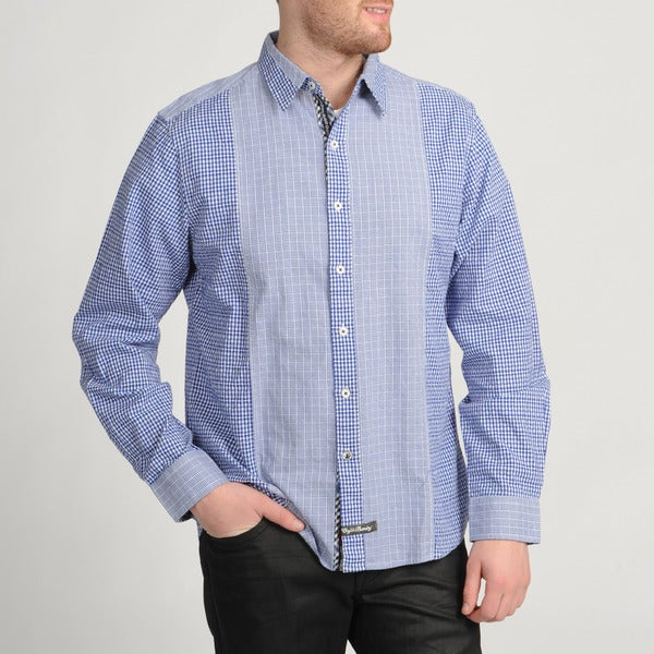 English Laundry Blue Plaid Button-front Shirt