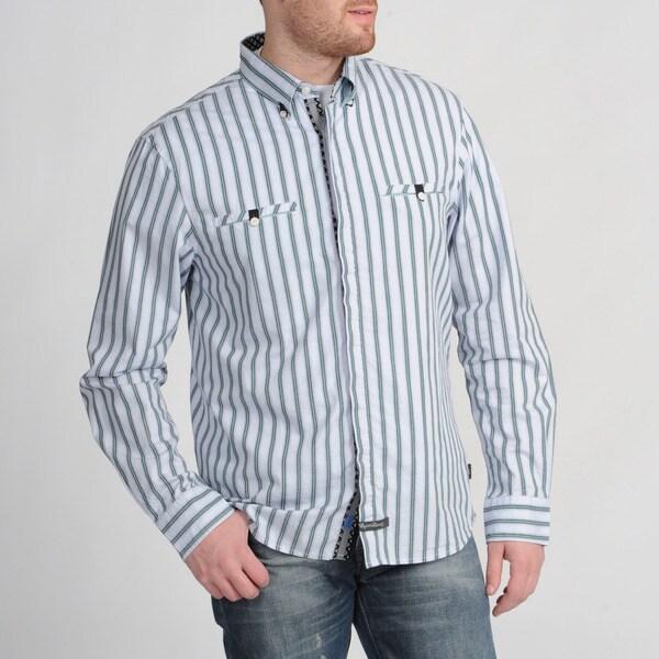 English Laundry Men's Grey Striped Shirt