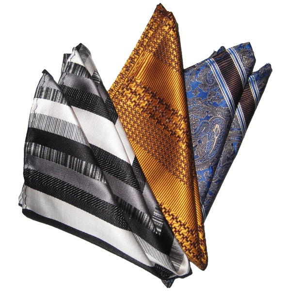 Dmitry Men's Silk Gray/Honey/Blue Pocket Squares (Pack of Three)