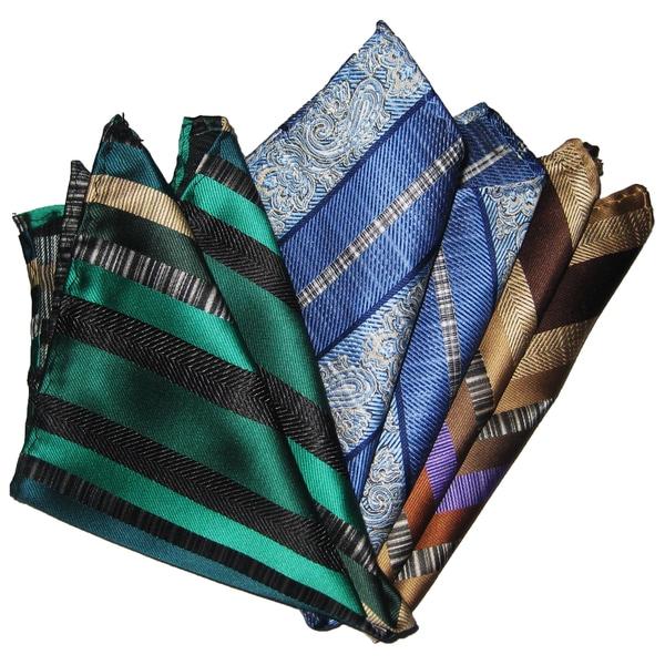 Dmitry Men's Silk Green/Light Blue/Brown Pocket Squares (Pack of Three)