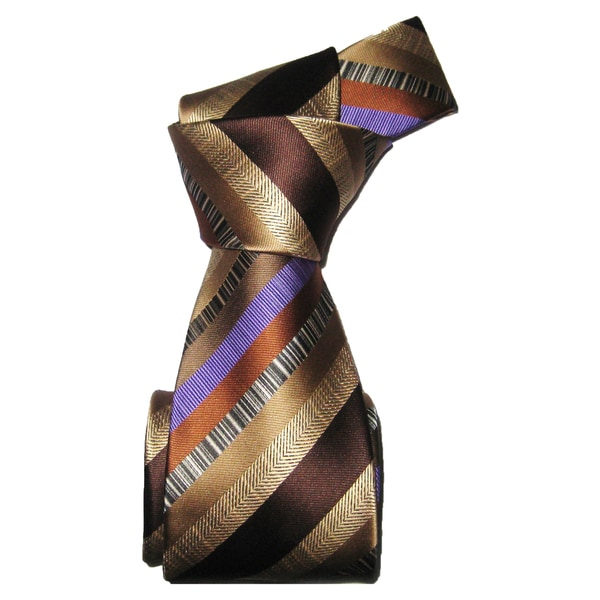 Dmitry Men's Italian Brown Striped Silk Tie