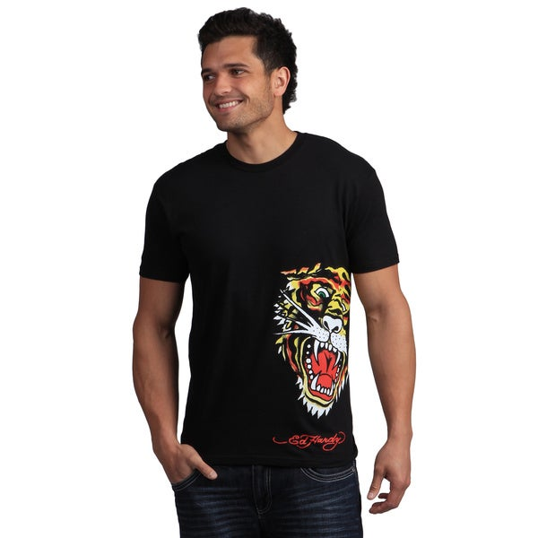 Ed Hardy Men's Black Tiger Graphic Tee Shirt