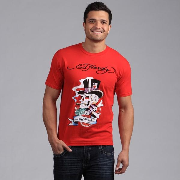 "Ed Hardy Men's Red ""Smokin' Brad' Tee Shirt"