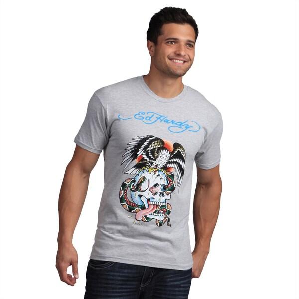 Ed Hardy Men's Grey Eagle and Skull Tattoo Print Tee Shirt