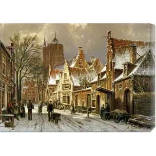 Global Gallery Willem Koekkoek 'A Winter Street Scene' Stretched Canvas Art