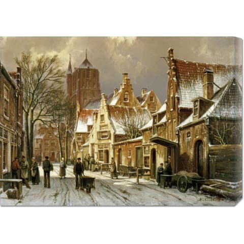 Global Gallery Willem Koekkoek 'A Winter Street Scene' Stretched Canvas Art - Multi