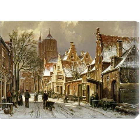 Global Gallery Willem Koekkoek 'A Winter Street Scene' Stretched Canvas Art - Multi