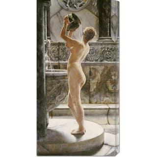 Global Gallery John Reinhard Weguelin 'The Bath' Stretched Canvas Art - Grey/Beige