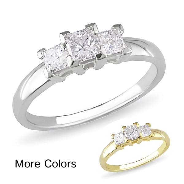 Miadora 10k Gold 3/4ct TDW Diamond 3-stone Ring (H-I, I2-I3)