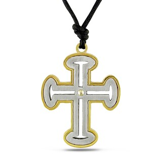 Miadora Italian Stainless Steel Unisex Cross Necklace