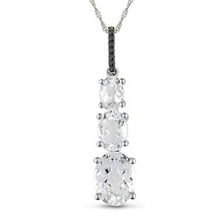 Miadora 14k White Gold Topaz and Black Diamond Necklace