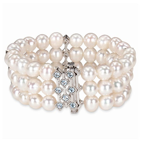 Miadora Sterling Silver Cultured Freshwater Pearl and Blue Topaz Bracelet (7.5-8 mm)