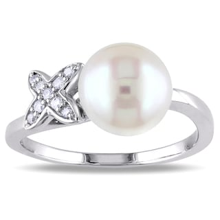 Miadora 10k White Gold Cultured Freshwater Pearl and Diamond Accent Ring (8.5-9 mm)