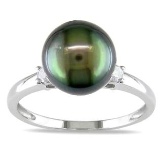 Miadora 10k Gold Tahitian Pearl and 1/10ct TDW Diamond Ring (H-I, I2-I3)