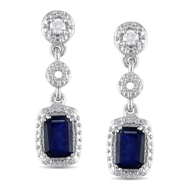 Miadora 10k Gold Sapphire and 1/10ct TDW Diamond Earrings (G-H, I1-I2)