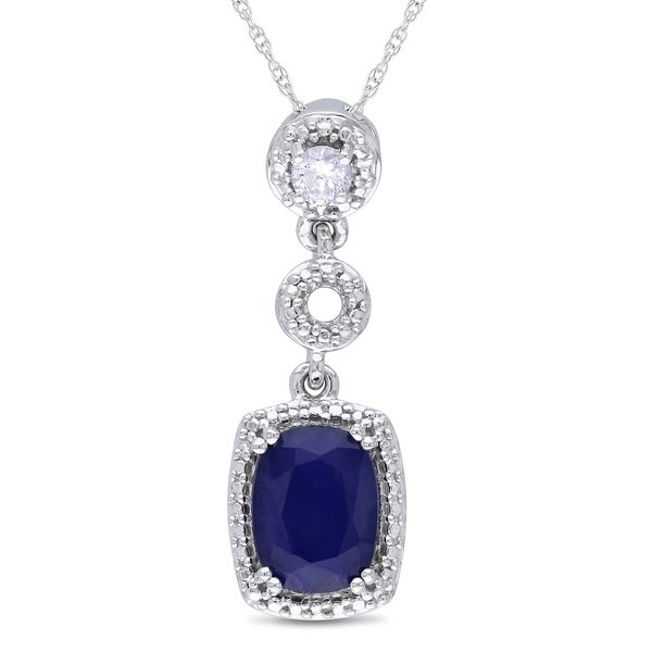 Miadora 10k Gold Sapphire and 1/10ct TDW Diamond Necklace (G-H, I1-I2)