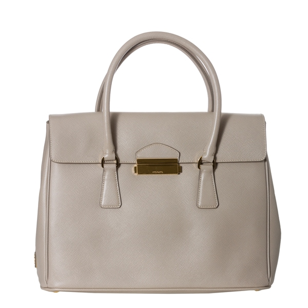 Prada Beige Saffiano Leather Flap Tote Bag