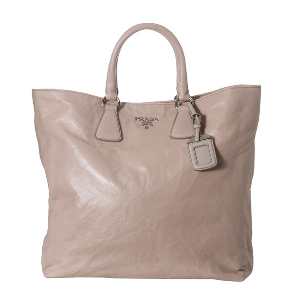 Prada Light Grey Crinkled Leather Tote Bag