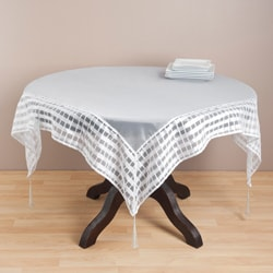 Striped Border Tasseled Corner 40-inch Sheer Tablecloth
