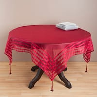 Raspberry Striped Border Tasseled Corner 80-inch Sheer Tablecloth
