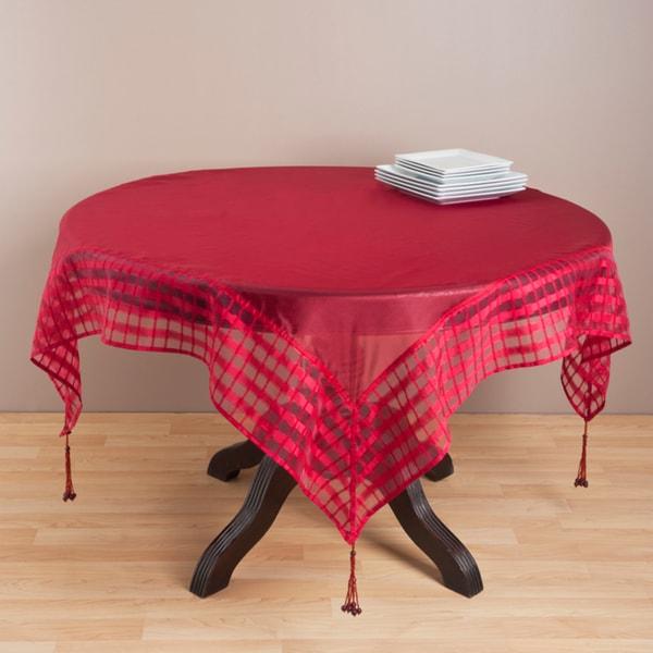 Merveilleux Raspberry Striped Border Tasseled Corner 80 Inch Sheer Tablecloth