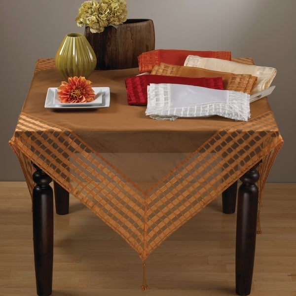 Raspberry Striped Border Tasseled Corner 60-inch Sheer Tablecloth