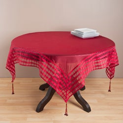 Raspberry Striped Border Tasseled Corner 60-inch Sheer Tablecloth