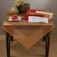 Terracotta Striped Border Tasseled Corner 60-inch Sheer Tablecloth
