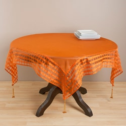 Terracotta Striped Border Tasseled Corner 60-inch Sheer Tablecloth