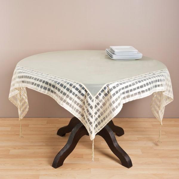 Butter Striped Border Tasseled Corner 80 Inch Sheer Tablecloth