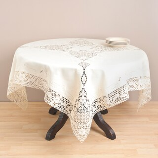 Ecru Embroidered Cutwork 72-Inch Polyester Tablecloth