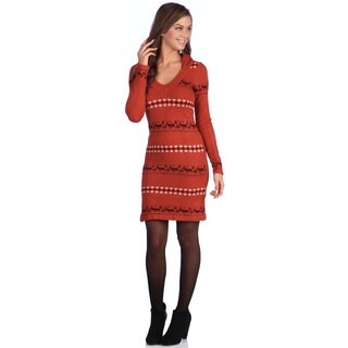 White Mark Women's 'Geneva' Deer Accented Hooded Sweaterdress