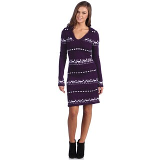 White Mark Women's 'Geneva' Deer Accent Hooded Sweaterdress