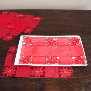 Floral Embroidered Cutwork Placemats (Set of 12)