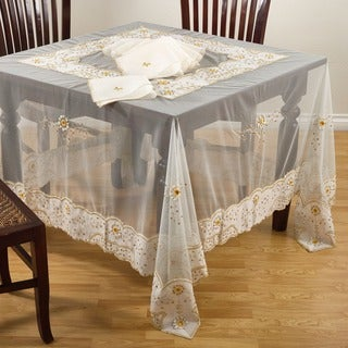 Gold Embroidered and Beaded 90-inch Tablecloth