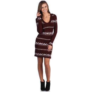 White Mark Women's 'Geneva' Deer-Pattern Maroon/White Sweaterdress