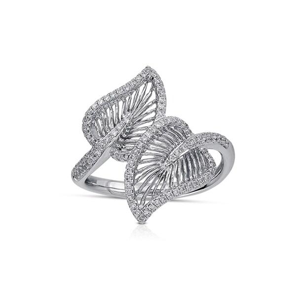 Victoria Kay 14k White Gold 1/3ct TDW Diamond Wire Leaf Ring