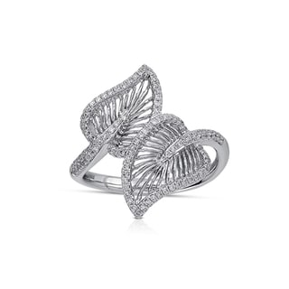 Victoria Kay 14k White Gold 1/3ct TDW Diamond Wire Leaf Ring