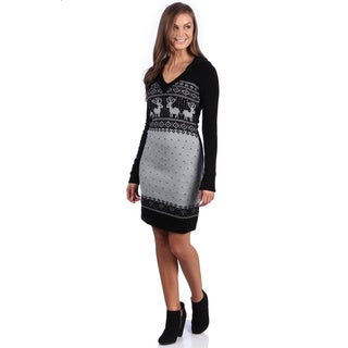 White Mark Women's 'Boston' Deer Pattern Sweaterdress
