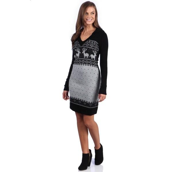 White Mark Women's 'Boston' Deer Pattern Sweaterdress