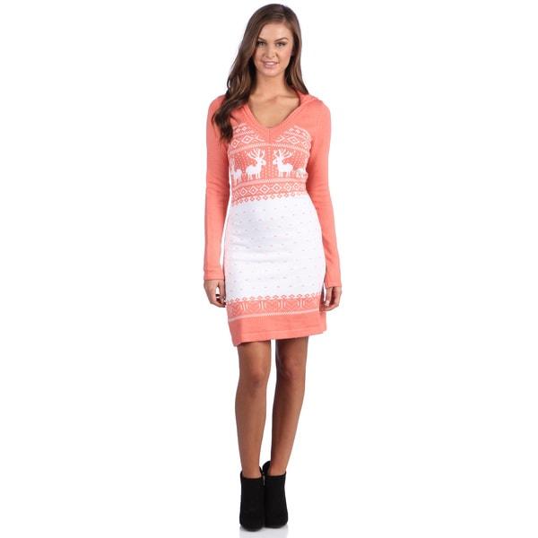 White Mark Women's 'Boston'  Peach Deer-Pattern Hooded Sweaterdress