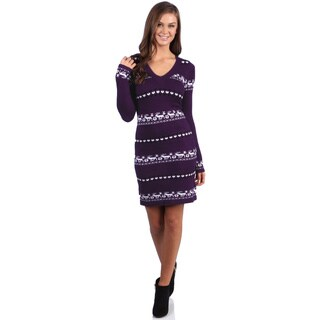 White Mark Women's 'Geneva' Deer-Pattern Purple/White Sweaterdress