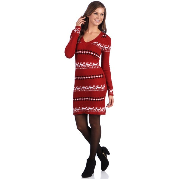 White Mark Women's 'Geneva' Deer Pattern Sweaterdress