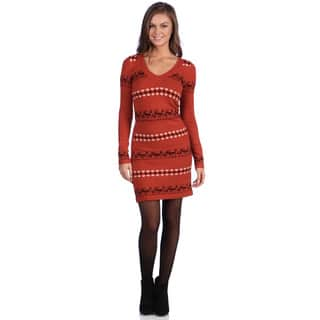 White Mark Women's 'Geneva' Deer-Pattern Orange/Brown Sweaterdress|https://ak1.ostkcdn.com/images/products/7571670/P15000692.jpg?impolicy=medium