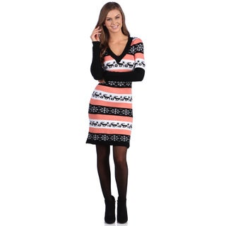 White Mark Women's 'Washington' Deer and Snowflake Pattern Sweaterdress