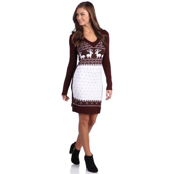 White Mark Women's 'Boston' Maroon Deer-Pattern Hooded Sweaterdress