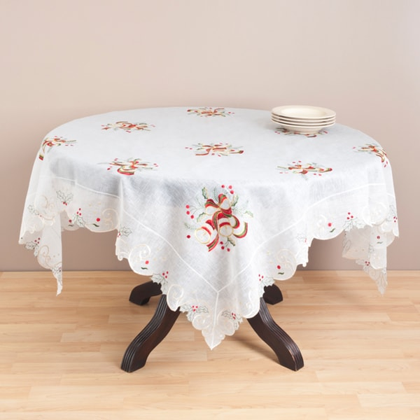 Ecru Embroidered 72-inch Polyester Tablecloth